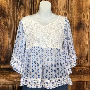 Sheer White/Blue Geometric Bell Sleeve Blouse - S